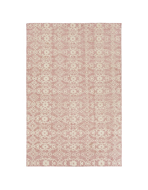 6' x 9' Unique Wonders Amaranth Pink and Sandy Tan Hand Knotted Area Throw Rug - IMAGE 1
