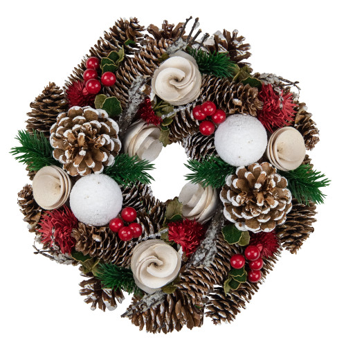 """10"""" Green and White Frosted Pine Cone and Berry Artificial Christmas Wreath - Unlit - IMAGE 1"""