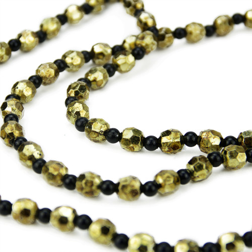 """2.5' x 14"""" Black and Gold Beaded Artificial Christmas Swag Garland - Unlit - IMAGE 1"""