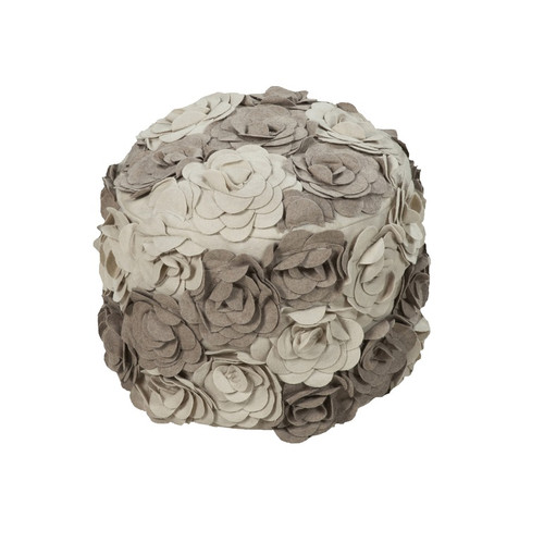 """18"""" Ivory and Taupe Gray Posy Roses Wool Round Pouf Ottoman - IMAGE 1"""