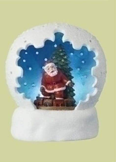 "4"" Battery Operated LED Lighted Santa Claus & Christmas Tree Table Top Domes - IMAGE 1"