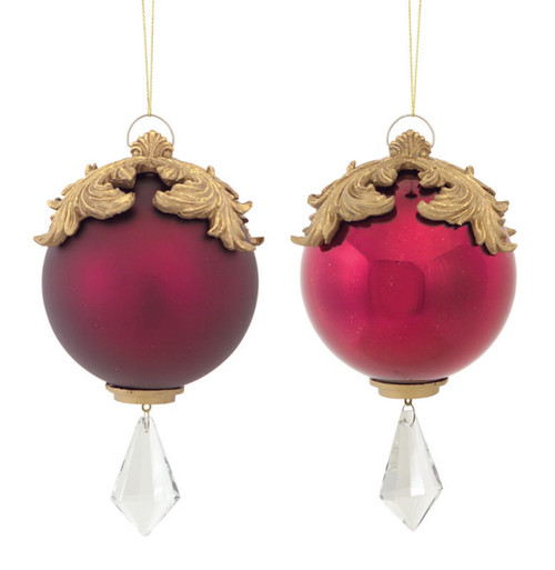 """Set of 2 Red and Gold Raised Acanthus Leaf with Clear Jewel Dangle Christmas Ornament 6.5"""" - IMAGE 1"""