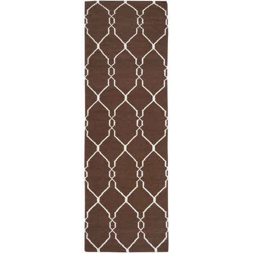 2.5' x 8' Cream White and Brown Hand Woven Wool Throw Rug Runner - IMAGE 1