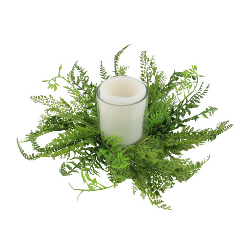 """17"""" Decorative Artificial Mixed Green Fern Hurricane Glass Candle Holder - IMAGE 1"""