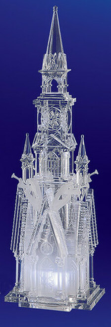 """Set of 2 Clear Religious Four Angel Cathederal Figurines 17.5"""" - IMAGE 1"""