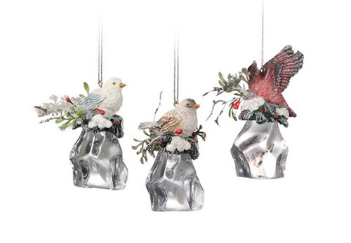 """Club Pack of 12 Clear Icy Crystal Christmas Birds on Ice Cubes Ornaments 3"""" - IMAGE 1"""