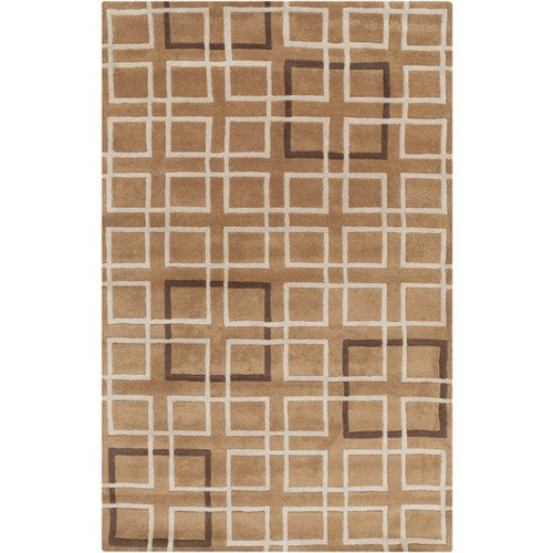 9' x 13' Brown and Ivory Rectangular New Zealand Wool Area Throw Rug - IMAGE 1