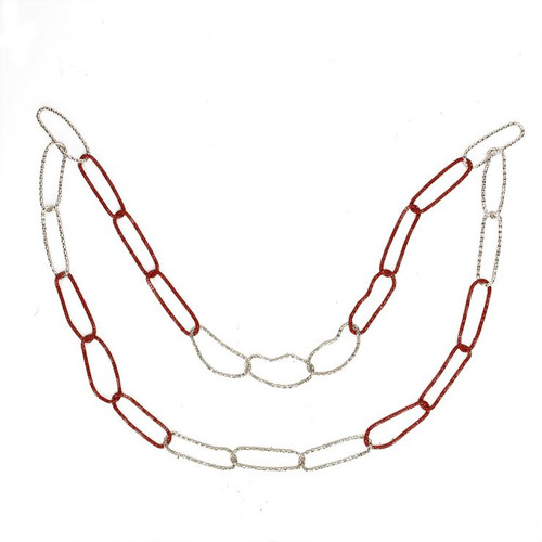 "36"" Red and Silver Round Loops Christmas Chain Garland - Unlit - IMAGE 1"
