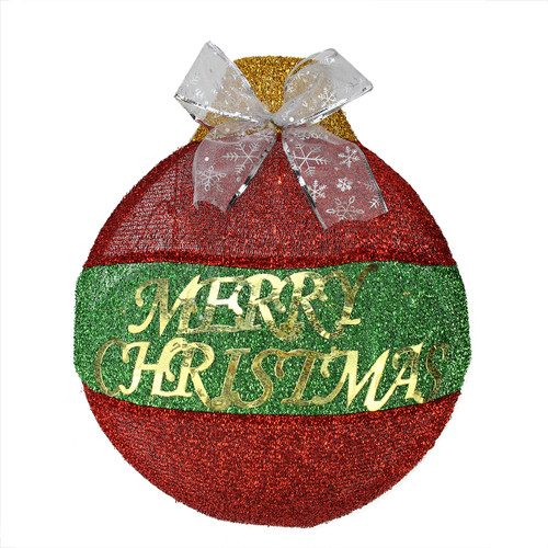 """17.25"""" Pre-Lit Red and Green LED 'Merry Christmas' Wall Hanging Ornament - IMAGE 1"""