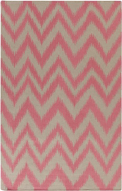 2' x 3' Chevron Shock Wave Pink and Gray Hand Woven Rectangular Wool Area Throw Rug - IMAGE 1