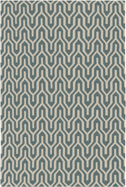 3.5' x 5.5' Ivory and Pale Blue Hand Woven Rectangular Wool Area Throw Rug - IMAGE 1