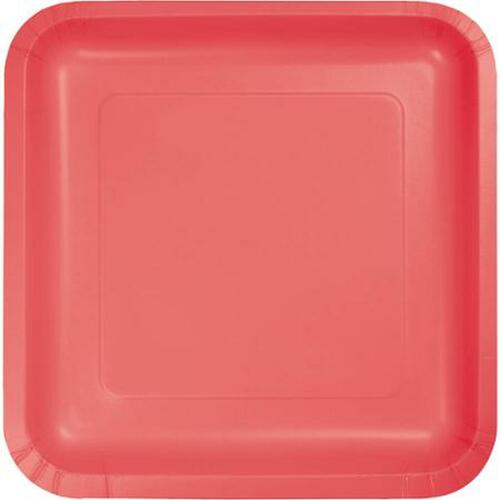 """Club Pack of 180 Decorative Square Coral Disposable Paper Dinner Party Plates 9"""" - IMAGE 1"""