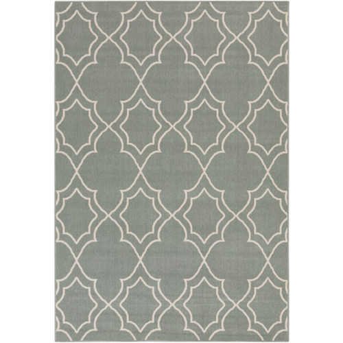 2.25' x 4.5' Gray and Beige Contemporary Rectangular Area Throw Rug - IMAGE 1