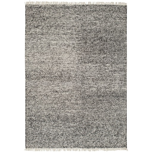 6' x 9' Charcoal Black and Ivory Hand Tufted Rectangular Area Throw Rug - IMAGE 1