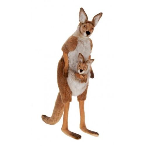 "43"" Brown and White Handcrafted Plush Mother Kangaroo with Joey Stuffed Animal - IMAGE 1"