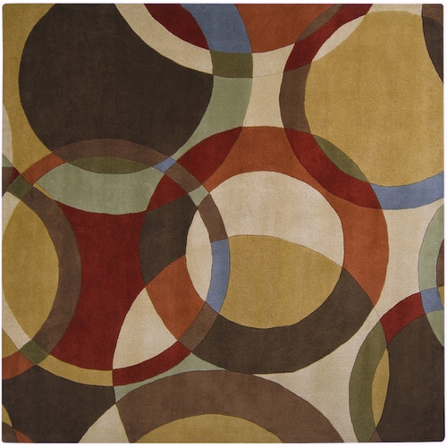 9.75' x 9.75' Green and Brown Spheres Hand Tufted Rectangular Area Throw Rug - IMAGE 1