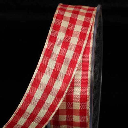 """Red and Ivory Gingham Wired Woven Edge Craft Ribbon 1.5"""" x 27 Yards - IMAGE 1"""