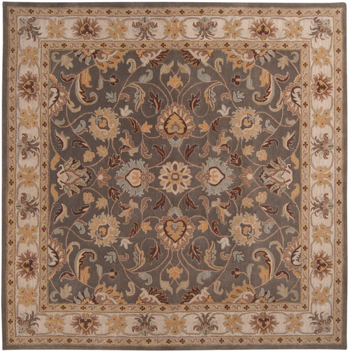 4' x 4' Floral Taupe Brown and Gray Hand Tufted Square Wool Area Throw Rug - IMAGE 1