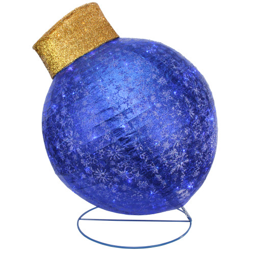 """36"""" Blue LED Twinkling Glittered Christmas Ball Ornament Outdoor Yard Decor - IMAGE 1"""