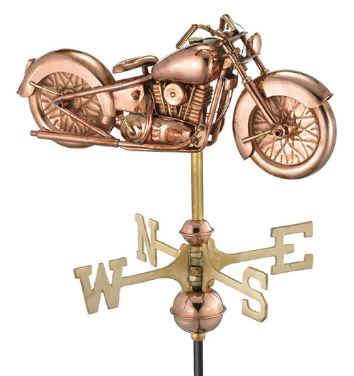 """17"""" Bronze and Gold Polished Classic Motorcycle Outdoor Weathervane with Roof Mount - IMAGE 1"""