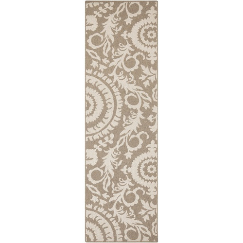 2.25' x 7.75' Beige and Taupe Brown Floral Shed-Free Area Throw Rug Runner - IMAGE 1