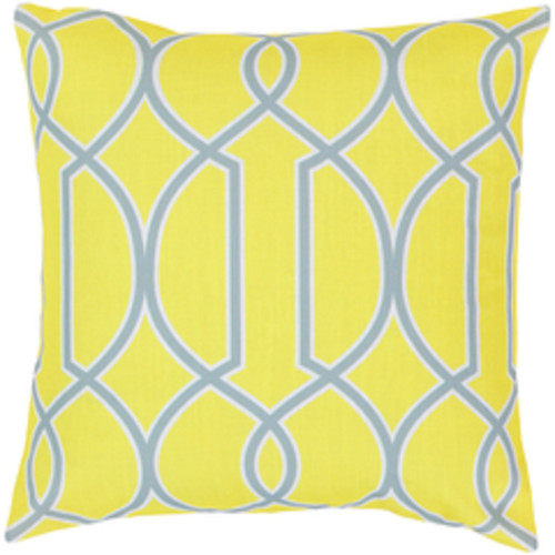 """22"""" Lime Green and Gray Square Throw Pillow - Poly Filled - IMAGE 1"""