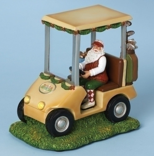 "7"" Green and Brown Lighted Musical Santa Claus in Golf Car Christmas Figurine - IMAGE 1"