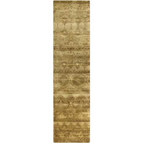 2.5' x 10' Traditional Green and Beige Hand Knotted Rectangular Wool Area Throw Rug Runner - IMAGE 1