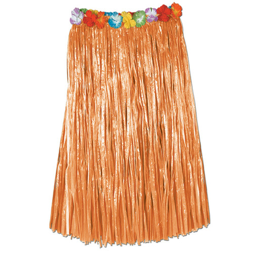 """Club Pack of 12 Orange Tropical Adult Women's Artificial Grass Hula Skirts 36"""" - IMAGE 1"""