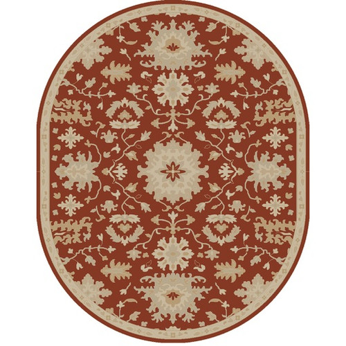 8' x 10' Oriental Burnt Orange and Brown Hand Tufted Oval Wool Area Throw Rug - IMAGE 1