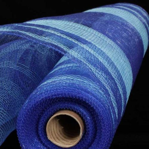 "Royal Blue Striped Deco Mesh Craft Ribbon 21"" x 40 Yards - IMAGE 1"