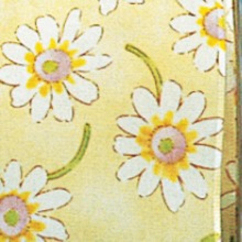 "Lemon Yellow and White Taffeta Daisies Wired Craft Ribbon 2.5"" x 27 Yards - IMAGE 1"