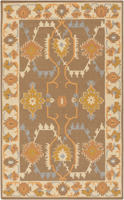 8' x 11' Extrinsic Floweret Brown and Gold Hand Woven Rectangular Wool Area Throw Rug - IMAGE 1