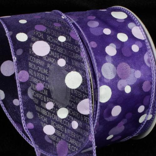 "Purple and White Tuffts Polka Dot Wired Craft Ribbon 2"" x 40 yards - IMAGE 1"
