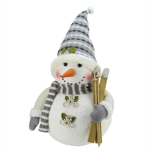 """20"""" White and Gray Snowman with Skis Christmas Tabletop Decor - IMAGE 1"""