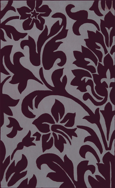 9' x 13' Darkness Blooms Purple and Gray Hand Tufted Rectangular Area Throw Rug - IMAGE 1