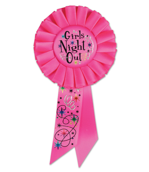 "Pack of 6 Hot Pink ""Girl's Night Out"" Diva Bachelorette Party Rosette Ribbons 6.5"" - IMAGE 1"