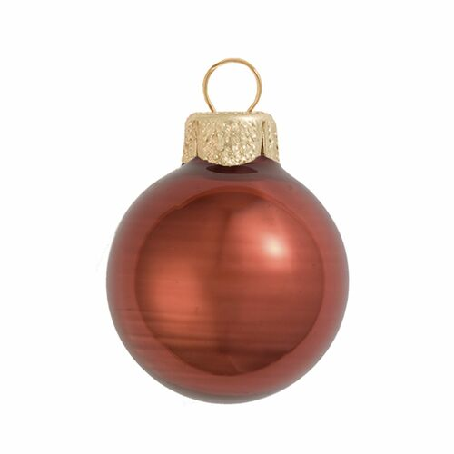 "12ct Pearl Chocolate Brown Glass Ball Christmas Ornaments 2.75"" (70mm) - IMAGE 1"