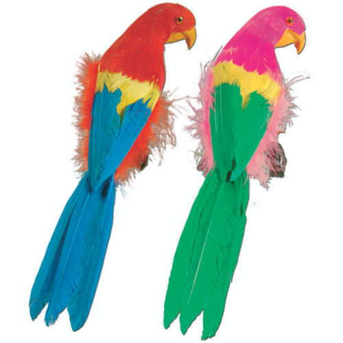 "Pack of 6 Blue and Green Feathered Luau Parrots 12"" - IMAGE 1"