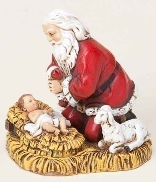 """2.75"""" Red, White, and Black Kneeling Santa and Baby Jesus Christmas Ornament - IMAGE 1"""