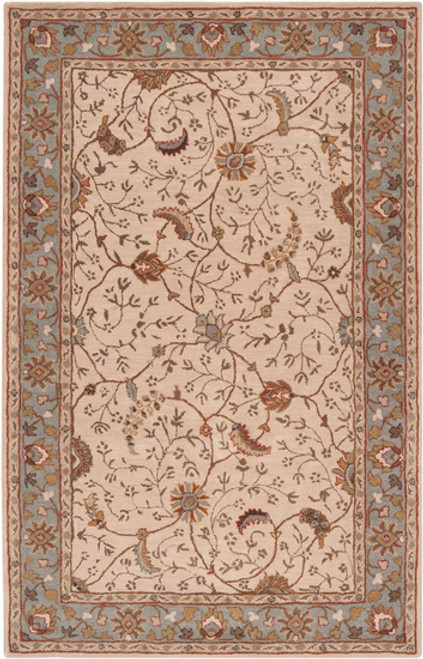 9' x 12' Porcius Gray and Brown Hand Tufted Floral Rectangular Wool Area Throw Rug - IMAGE 1