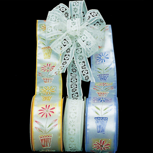 """White Embossed Flowers Wire Craft Ribbon 1.5"""" x 40 Yards - IMAGE 1"""