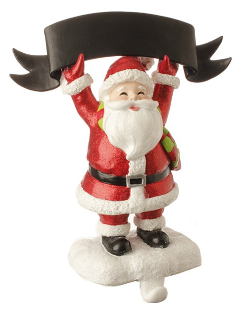 """10"""" Red and White Glitter Santa Claus Stocking Holder with Chalkboard Banner Christmas Decoration - IMAGE 1"""