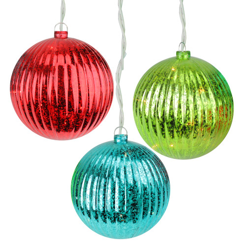 Set of 3 Lighted Multi-Color Mercury Glass Finish Ribbed Ball Christmas Ornaments - Clear Lights - IMAGE 1