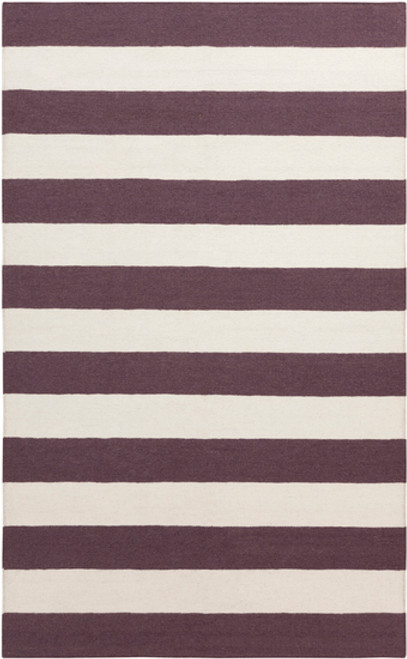 8' x 11' Striped Purple and White Hand Woven Rectangular Wool Area Throw Rug - IMAGE 1