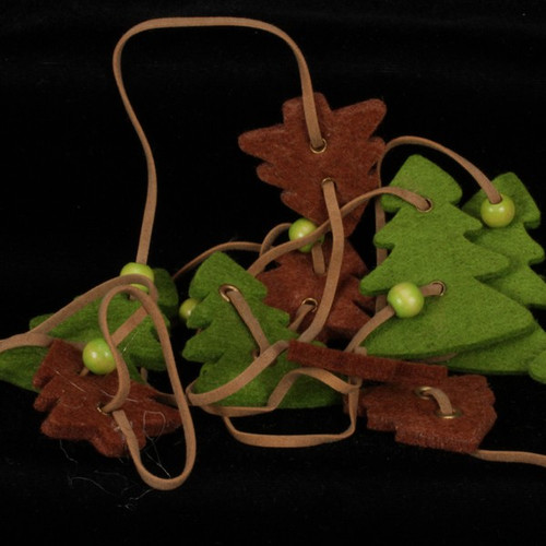 Olive Green And Chocolate Brown Small And Large Trees Felt Garland Ornaments - IMAGE 1