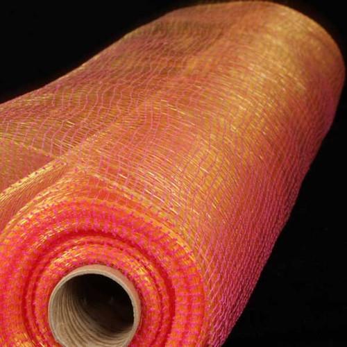"Fuchsia Pink and Gold Decorating Mesh Craft Ribbon 21"" x 40 Yards - IMAGE 1"