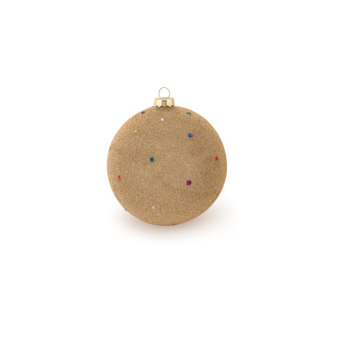 """Gold Beaded and Jeweled Glass Ball Christmas Ornament 4.75"""" (120mm) - IMAGE 1"""