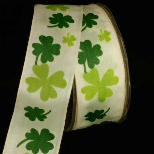 "Ivory and Green Floral Wired Craft Ribbon 1.5"" x 27 Yards - IMAGE 1"