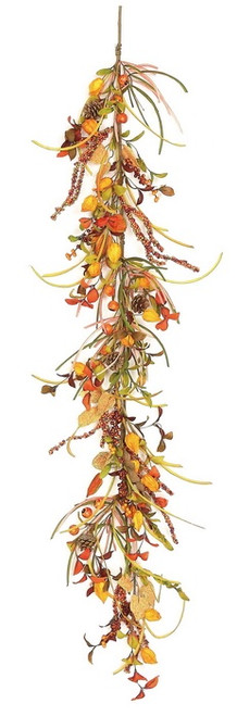 """5' x 6"""" Artificial Autumn Mixed Berry Lantern and Pine Cone Garland - Unlit - IMAGE 1"""